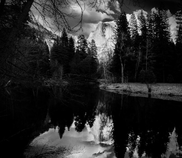 Half Dome lake mirror BW (1 of 1)
